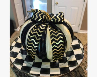 Whimsical Black and Cream Striped Pumpkin