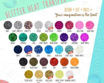 "GLITTER Heat Transfer Vinyl 20""X 9"" Choose COLORS"