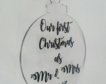 First Christmas as Mr & Mrs 2017 - Personalised Christmas Bauble Decoration - Acrylic -