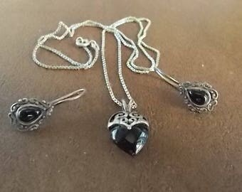 Old~Vintage~BLACK ONYX~Sterling Silver  Necklace and Earrings~Set~Classic Beauty~925 Fine Jewelry~Dress or Casual~1950's