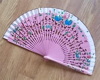 "Japanese~Asian~Silk and Bamboo~Hand Fans~Purse Fan~Folding Fan~Collectable Accessorie~Attic~Find~9""~Lacquered~Hand Painted~Colors"