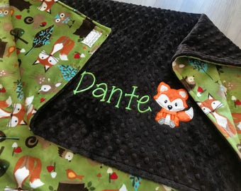 Woodland foxes and owls Double Minky Baby Blanket, Kiwi forest trails. SALE