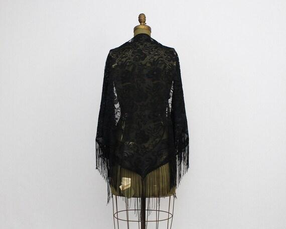 Vintage Black Lace Piano Shawl