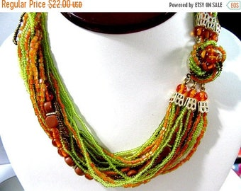 ON SALE Vintage  Japan Glass Fancy Orange Green Copper Browns Multistrand Necklace Fancy Matching Clasp Pretty Choker