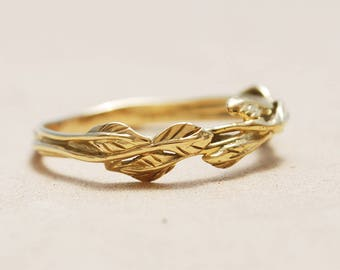 nature inspired wedding ring unique wedding ring alternative wedding ring gold wedding band - Unique Wedding Ring