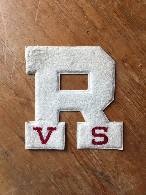 Large Vintage Letterman Patch, R Patch, Letterman Jacket Patch, Letterman Letter, Initial R