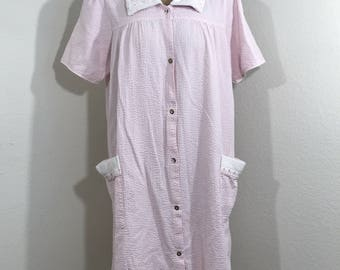 VTG 70s Leisure Life Pink Gingham 100% Cotton Housecoat Robe Rockabilly SZ Small