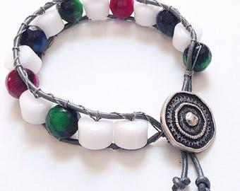 Agate Leather Wrap Bracelet Handmade