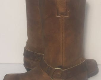 Frye 77300 Harness Brown Leather  Motorcycle Boot 12r Women's Size 8