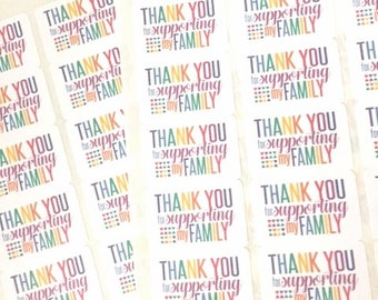 Lula Labels / Thank You for Supporting My Family Stickers / Fun Happy Mail Labels / Thank You Stickers / Small Business Packaging Labels
