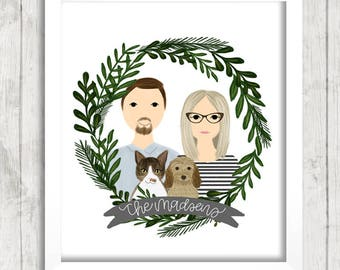 Custom Foliage Wreath Portrait Illustration | Couple Illustration | Family Portrait | Gift Idea | Newlyweds | Wedding Gift | Anniversary