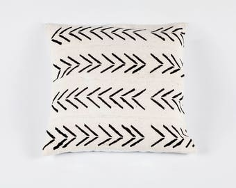 White Bogolan Mudcloth Pillow