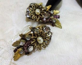 Vintage Miriam Haskell Baroque Pearl and Rhinestone Floral Earrings