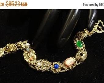 ON SALE Vintage Goldette Slide Victorian Revival Style Bracelet