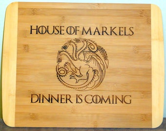 Personalized Game of Thrones Cutting Board Any House Games of Thrones Engraved Personalized Birthday Gift, Father's Day
