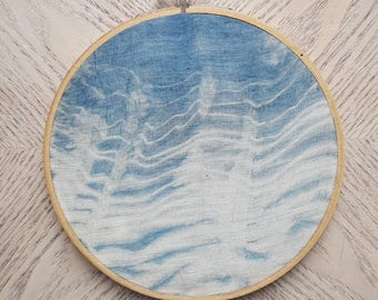 Indigo wave hand-dyed shibori embroidery hoop art, home decor, wall art
