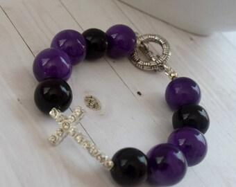 Purple Cross Jewelry, Jewelry  Bracelet, Sideways Rhinestone Cross, Gift Under 20, Christian Jewelry, Christian Bracelet, Cross Jewelry