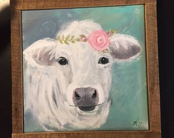 HandPainted Cow with Flowers • Acrylic Painting • Farmhouse Decor • Cow painting • Shabby Chic Decor • Rustic Barnwood Frame