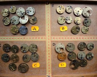 Antique Pocket watch parts movement / Gold color BRASS watch parts / clock parts / Robot mix / steampunk brass movements / Metal art - Sm34
