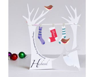 Personalised 3D Popup Paper Cut Christmas Card for a Wife, Husband or loved one!