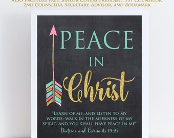 LDS Young Women Theme 2018, Chalkboard Arrow, Mutual Theme 2018, Doctrine and Covenants 19:23, Peace in Christ, Printable 9