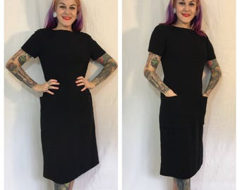 FLASH SALE Vintage 1950's Black Pleated Dress with Pockets