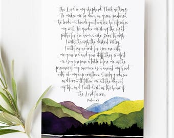 Psalm 23 - The Lord is my Shepherd - Scripture art - Bible verse - Bible verse wall art - Bible verse print - Mountain print - The valley