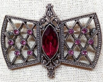 Vintage Rhinestone Bar Pin, Victorian Revival Brooch, Costume Jewelry, Gifts, Gift for Her
