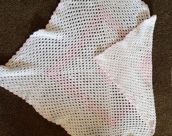 White and Pink Crocheted Baby Blanket
