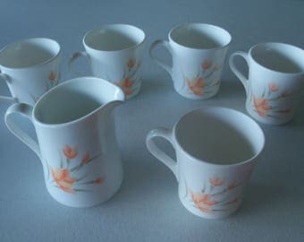 Corelle Corning Peach Floral Set Of Five Mugs & Creamer