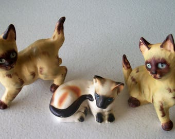 Siamese Vintage Lefton Japan Three Cat Figurines