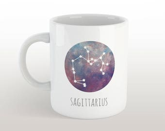sagittarius mug - zodiac sign coffee mug with constellation & characteristics with galaxy background