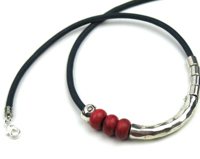 Beaded Necklace in Black Mokuba Cord, Red Rondelles and Silver Tube Beads