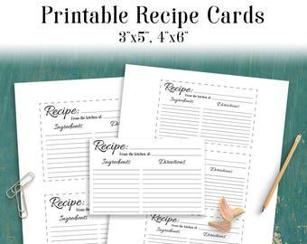 Recipe Card Printable, Blank Recipe Card, Recipe Template, Bridal Shower Recipe Card, Recipe Card Insert, Recipe Cards 3x5, Recipe Cards 4x6