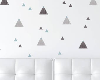 Mountain Wall Decals - Watercolor Wallpaper Look Fabric Wall Decals