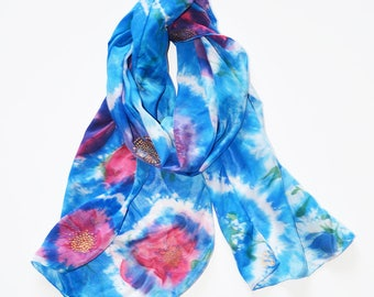 Blue silk scarf- Hand painted silk scarf- Shibori Scarf- Batik scarf- Womens scarves- Head silk scarf- Painted scarf- Blue scarf- Silk scarf