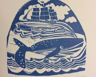 Bottle hand made Maritime lino print
