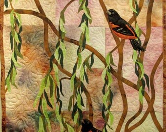 Art quilt with hand painted/dyed fabric, wallhanging  - Orioles - fiber art
