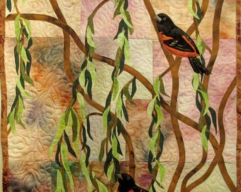 Hand painted fabric art quilt, wallhanging  - Orioles - fiber art