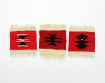 Three vintage kilim squares // small wool kilims // set of three