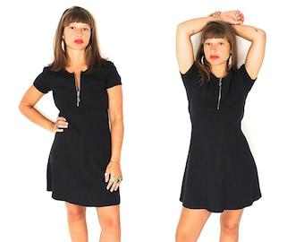 Vintage 90s Black Mini Dress - 90s Black Zip Up Mini Dress - 90s Minimalist Black Ribbed Cotton Babydoll Mini Dress
