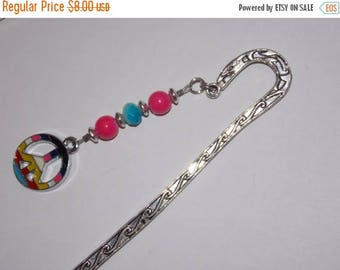 15%OFF Blue and Pink Peace Sign Tibetan Silver Bookmark Bookmark