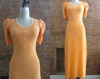 December Sale 1970s pretty peach knit 1930s inspired maxi dress | 70's does 30's Art Deco