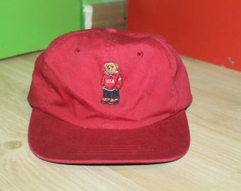 Vintage Polo Bear Ralph Lauren Cap Hat Stadium Sportsman Ski Golf P Wing