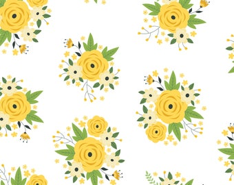 Floral in White, Camelot Fabrics, Alisse Courter, fabric by the yard, yellow flowers, medallion fabric, summer fabric, buds, roses