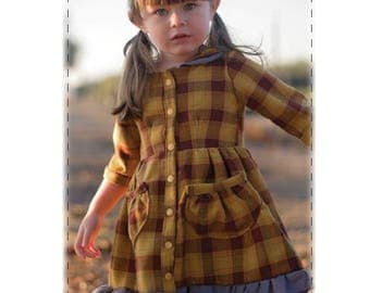 Camellia Dress EXTRA FRILLS Add-on Option, PDF Children's Pattern, pockets, sleeves, ruffles, girls dress, collared dress, button down dress