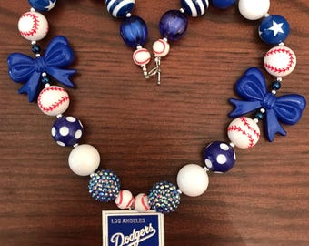 Los Angeles Dodgers Baseball Bubble Gum Necklace (Adult\Teen)