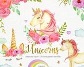 Watercolor unicorn clipart, unicorns clip art, unicorn party, instant download nursery decor unicorn face png files Woodland Animals magical
