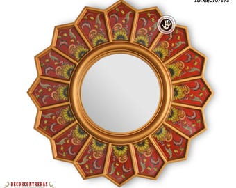 Round Sunburst Mirror 'Red sunflower' - Small Decorative Wall Mirrors- Reverse Handpainted glass -Preuvian Handicrafts - Interior Decoration