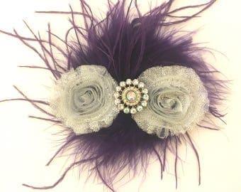 Silver and Purple Plum Feather Flower Hair clip. Bridal Flower Hair Clip,